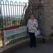 Susan Chamberlain enjoying Vette  Visions on the parapet at Orford Castle in England.jpg